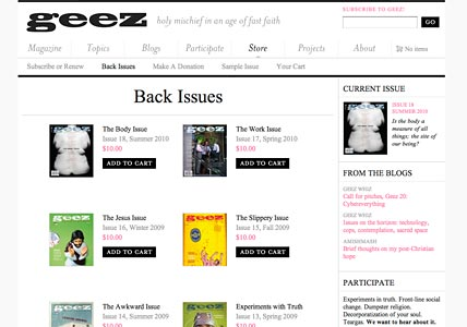 Products Page and Back Issues
