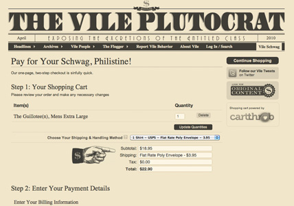 The Vile Plutocrat checkout page