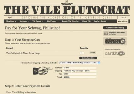 The Vile Plutocrat checkout page
